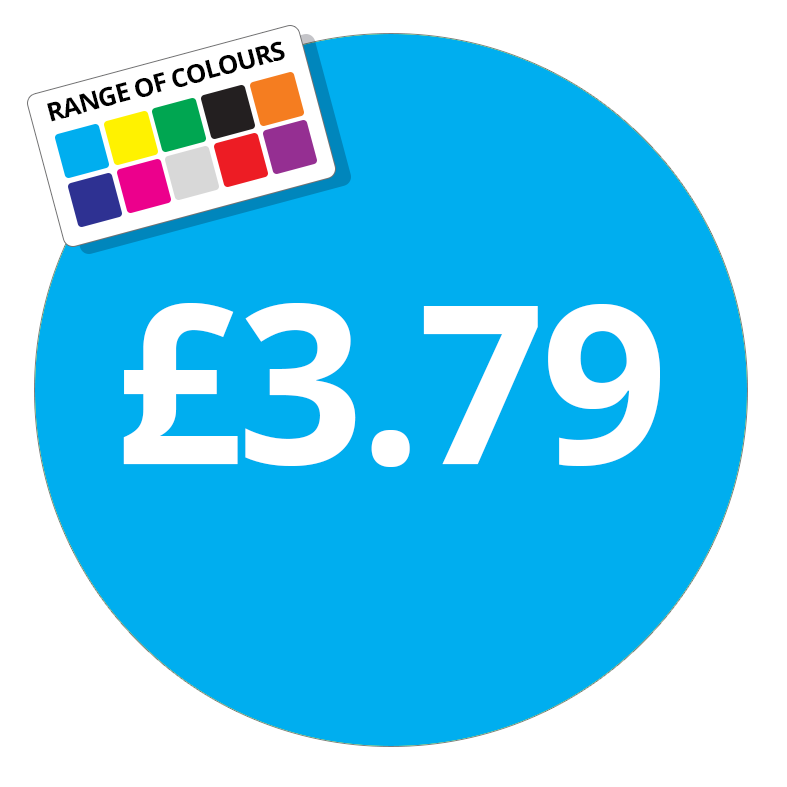 £3.79 Printed Price Sticker - 51mm Round Purple