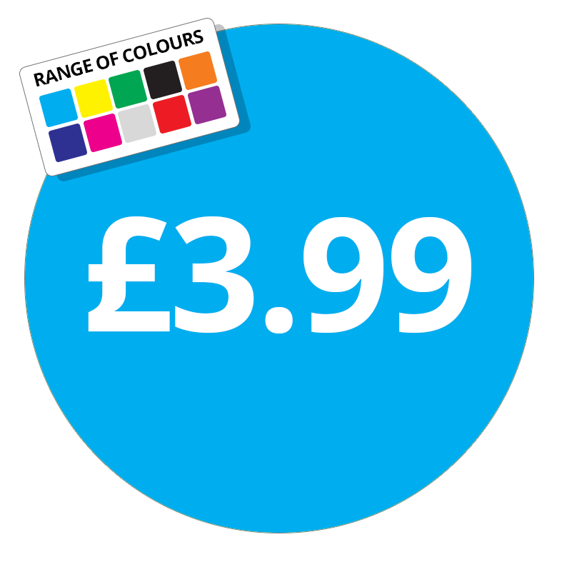 £3.99 Printed Price Sticker - 37mm Round Purple