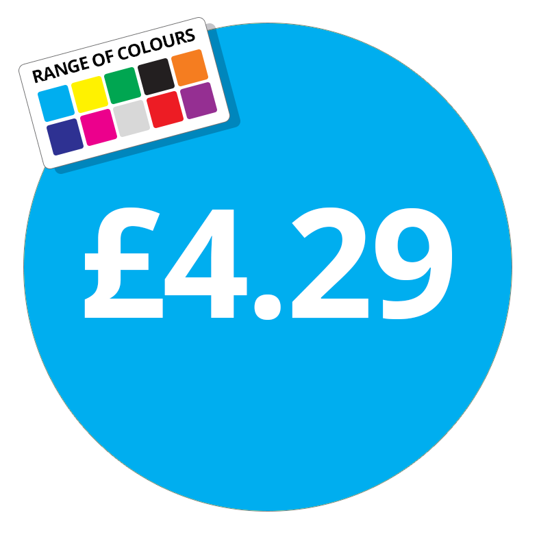 £4.29 Printed Price Sticker - 51mm Round Purple