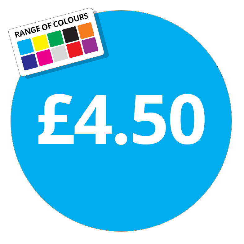 £4.50 Printed Price Sticker - 51mm Round Purple