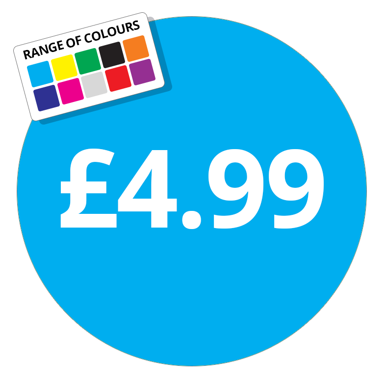 £4.99 Printed Price Sticker - 37mm Round Dark Blue