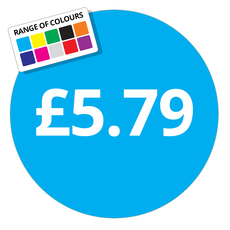£5.79 Printed Price Sticker - 25mm Round Dark Blue