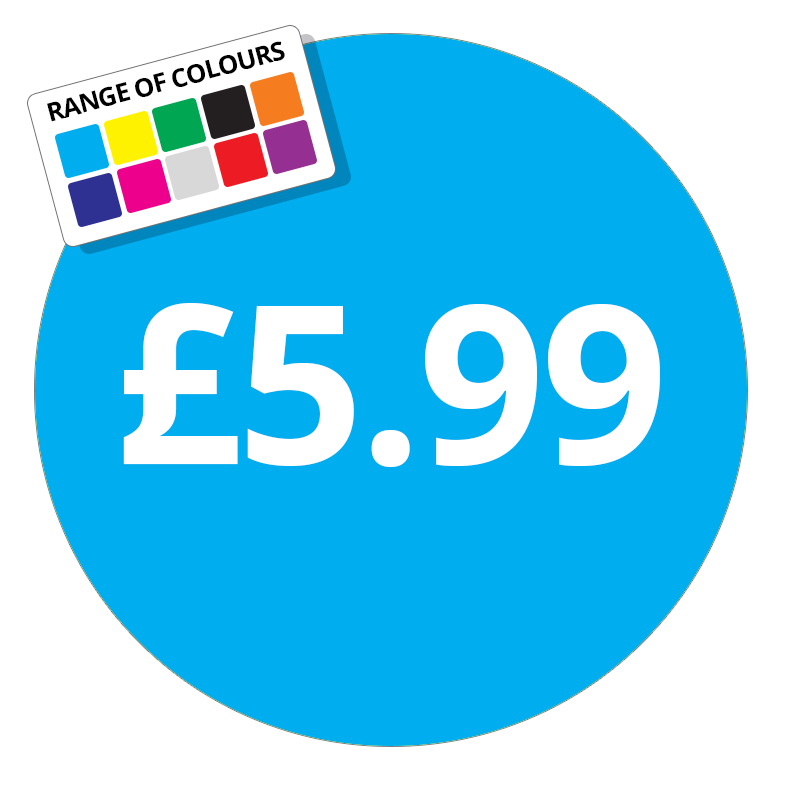 £5.99 Printed Price Sticker - 51mm Round Dark Blue