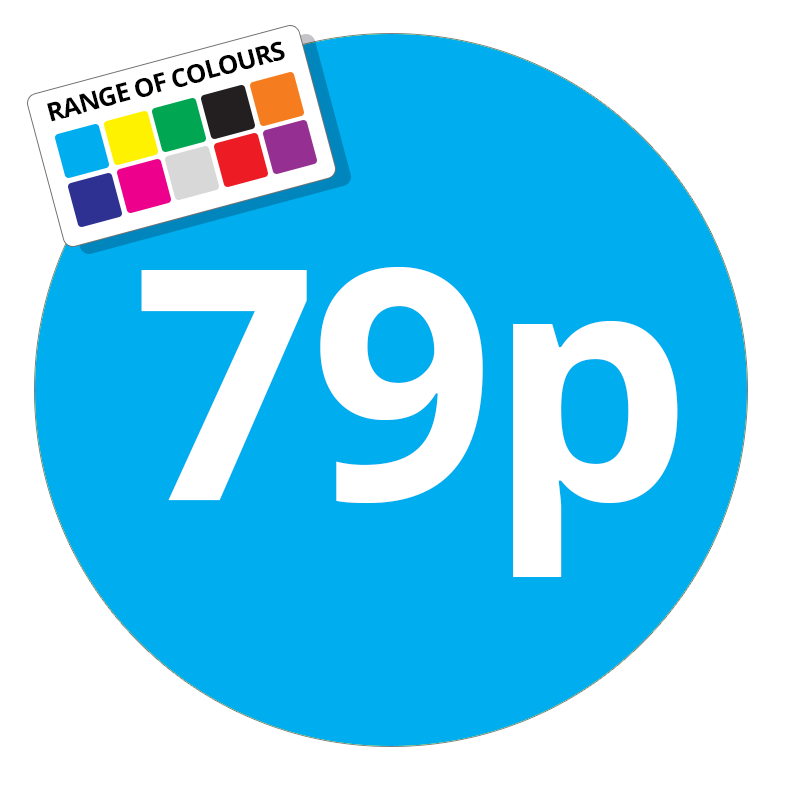 79p Printed Price Sticker - 51mm Round Light Blue