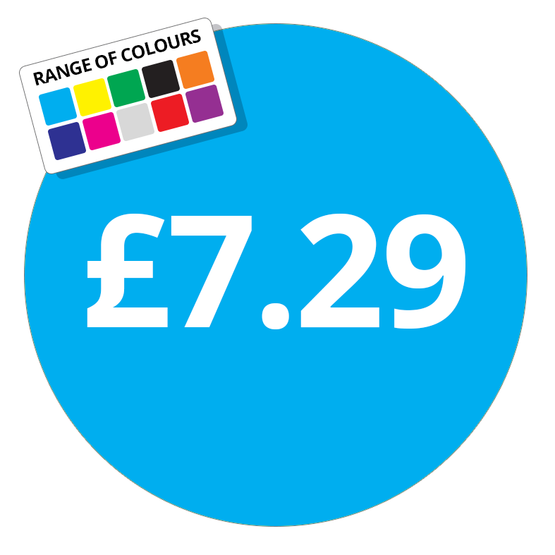 £7.29 Printed Price Sticker - 25mm Round Purple