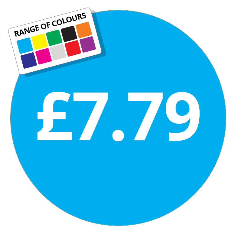 £7.79 Printed Price Sticker - 51mm Round Purple