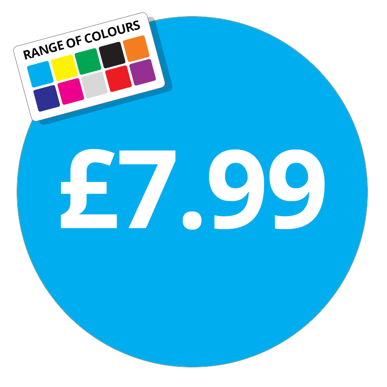 £7.99 Printed Price Sticker - 51mm Round Purple