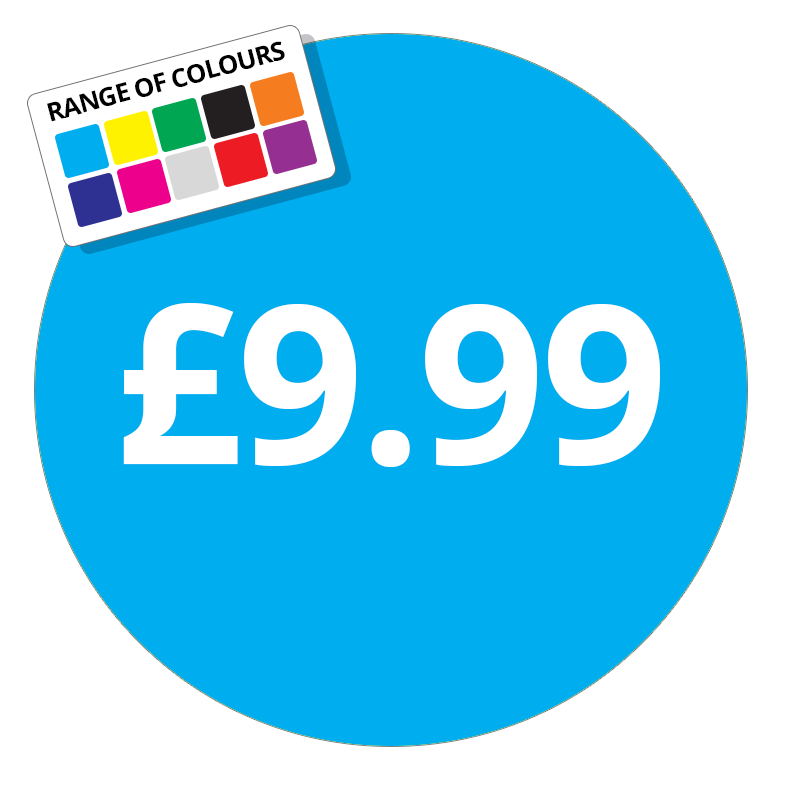 £9.99 Printed Price Sticker - 51mm Round Purple