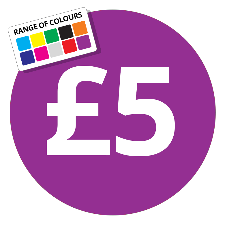 Printed price labels £5 price stickers stickershop co uk