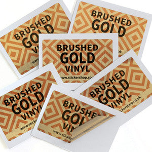 Brushed Gold<br> Vinyl Labels Printed Stickers