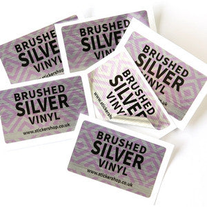 Brushed Silver<br> Labels Printed Stickers