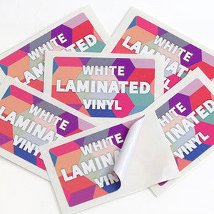 White Laminated<br> Labels Printed Stickers