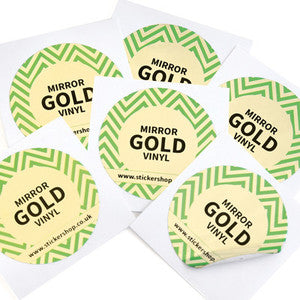 Mirrored Gold Labels Printed Stickers