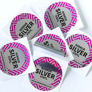 Mirrored <br>Silver Labels Printed Stickers