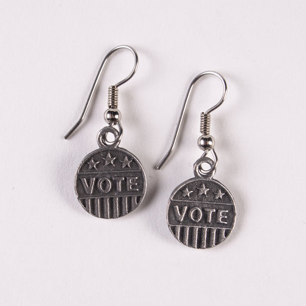 "Pewter ""Vote"" Earrings"