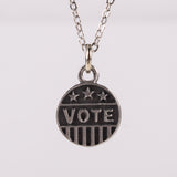 "Pewter ""Vote"" Necklace"