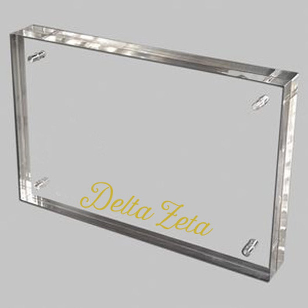 Delta Zeta Gold and Acrylic picture frame