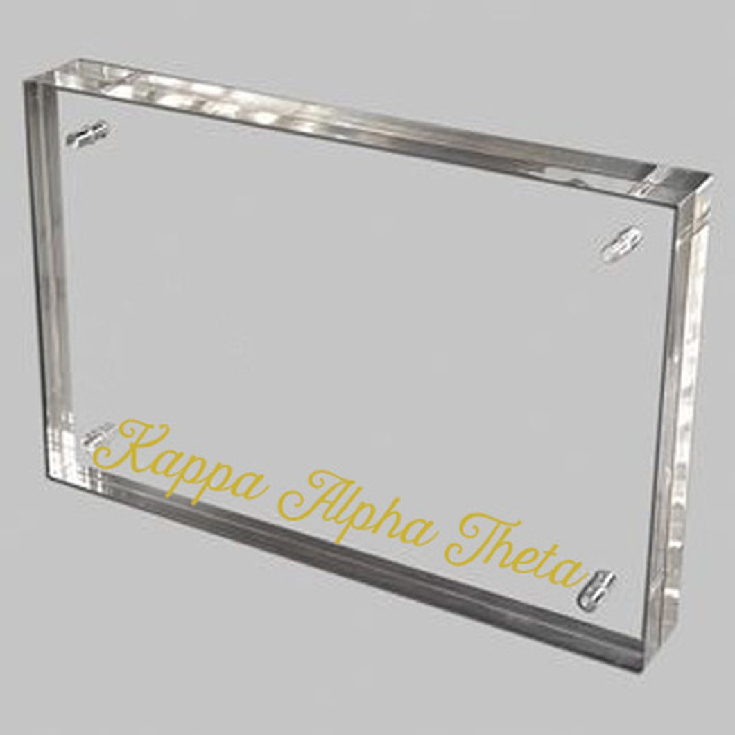 Kappa Alpha Theta Gold and Acrylic Picture Frame
