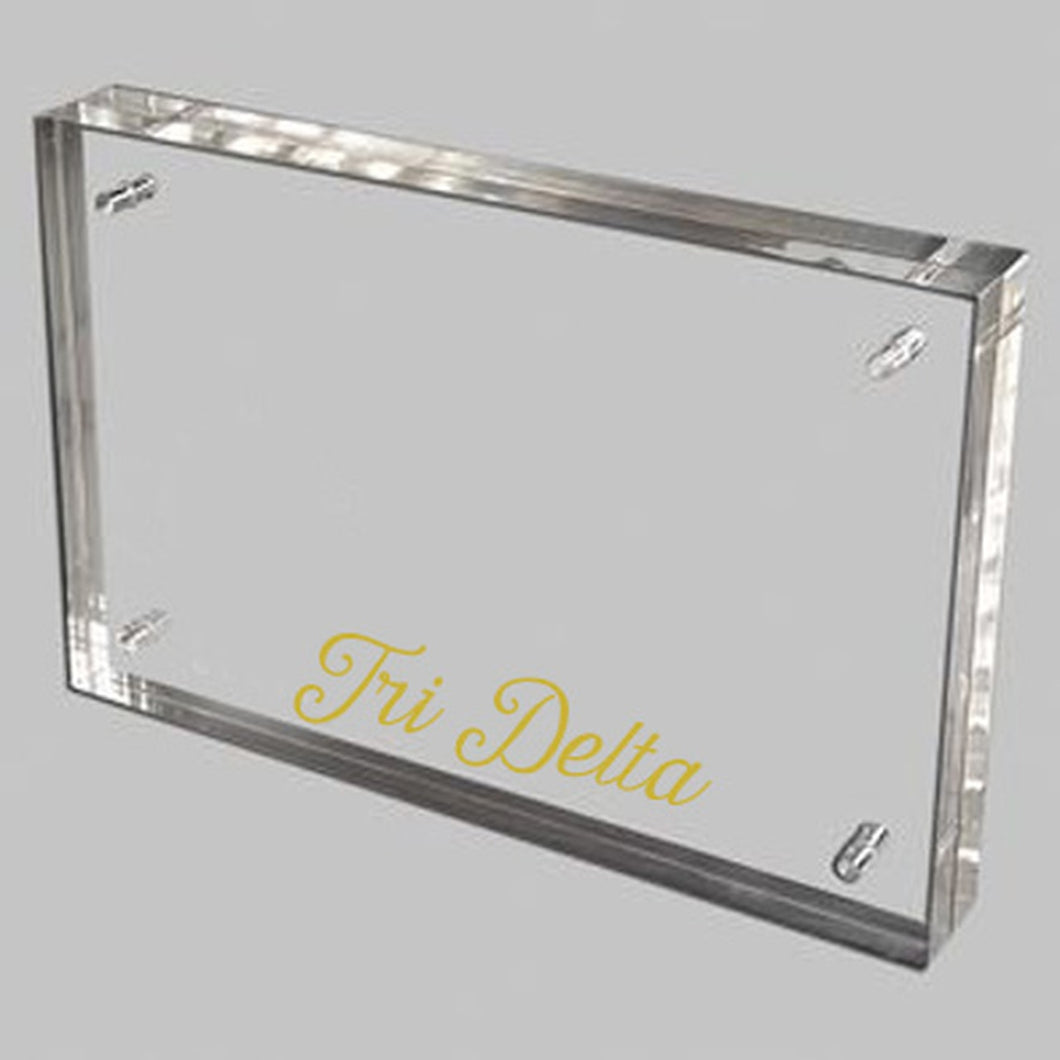 Delta Delta Delta  Gold and Acrylic picture frame