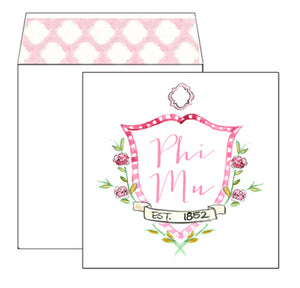 Phi Mu Motif Greeting Card