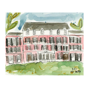 Chi Omega Alabama Sorority House Watercolor Painting