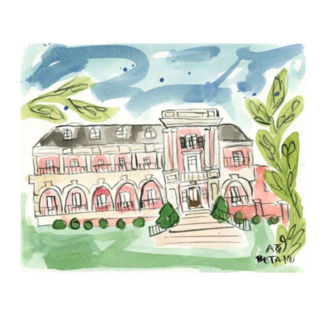 Alpha Phi Alabama Sorority House Watercolor Painting