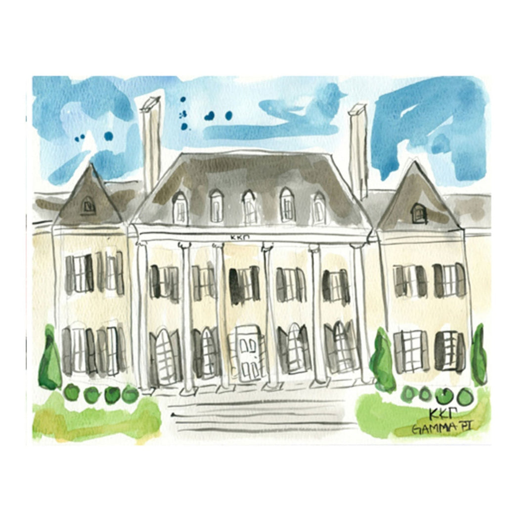 Kappa Kappa Gamma Watercolor House Painting