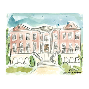 Gamma Phi Beta Watercolor House Painting