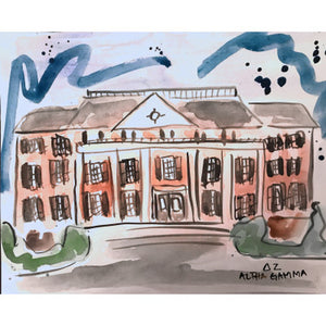 Delta Zeta Alabama Sorority House Watercolor Painting