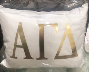 Alpha Gamma Delta White pillow and Gold letters