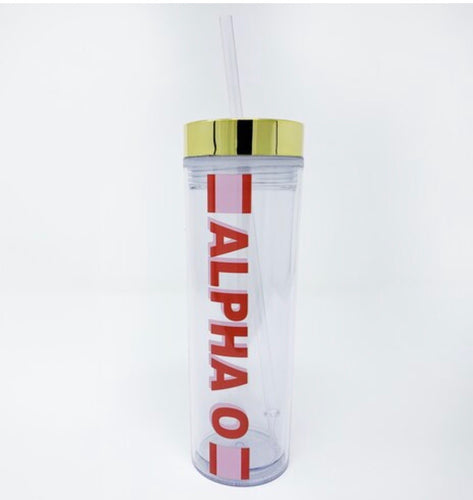 Alpha Omicron Pi clear water bottle