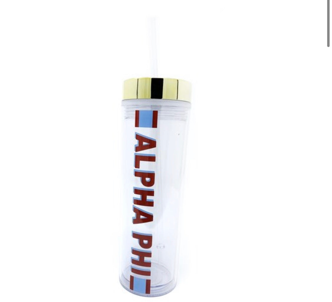 Alpha Phi clear water bottle