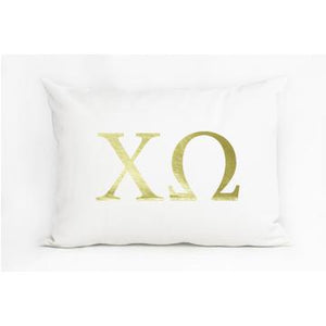 Chi Omega White Pillow with Gold Letters