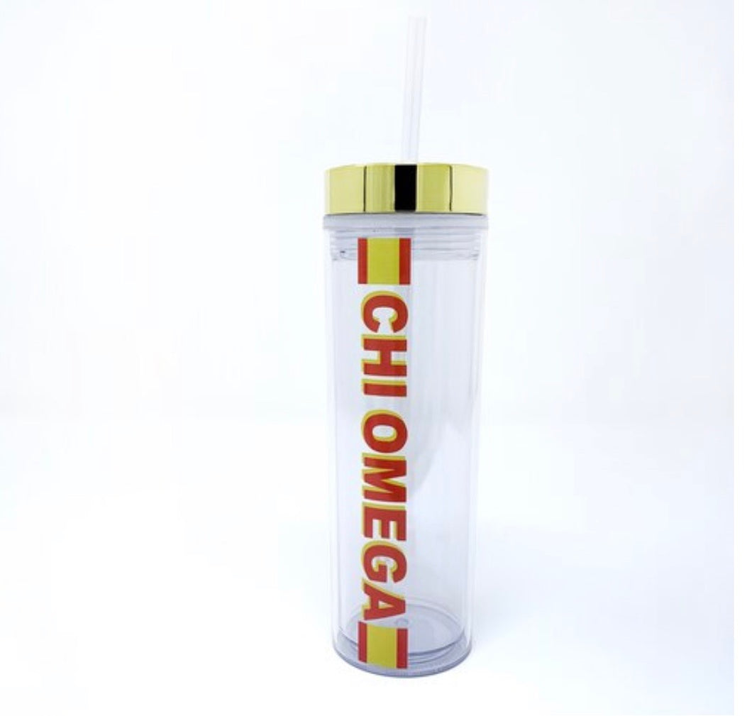 Chi Omega clear water bottle