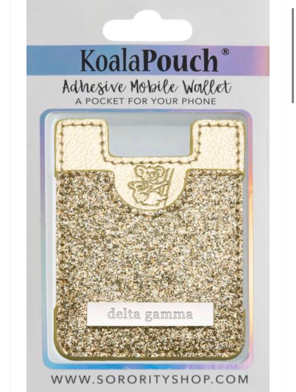 Delta Gamma Sparkle Phone Wallet-Gold