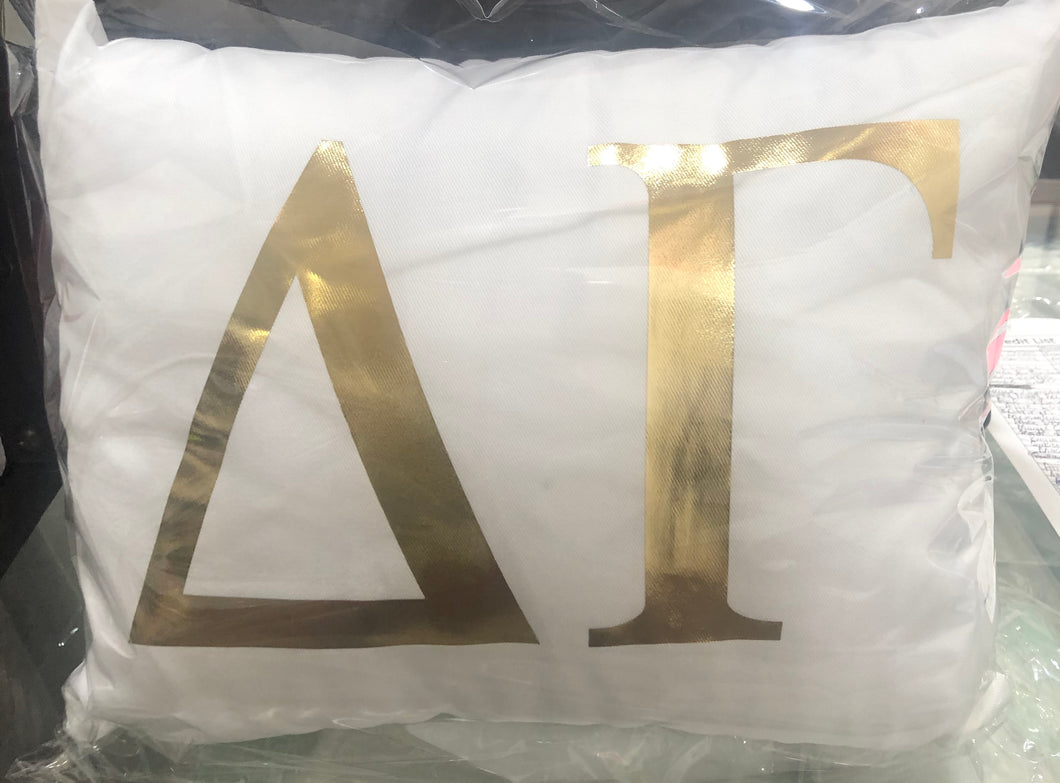 Delta Gamma White pillow with Gold letters