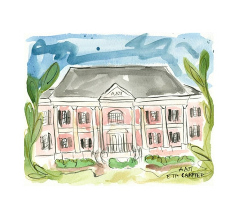 Alpha Delta Pi Alabama Sorority House Watercolor Painting