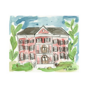 Alpha Gamma Delta Alabama Sorority House Watercolor Painting