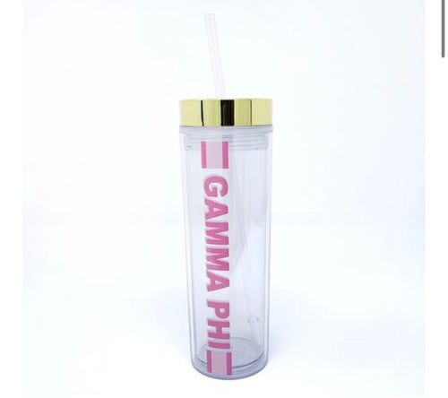 Gamma Phi Beta clear water bottle