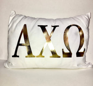 Alpha Chi Omega White pillow with gold letters