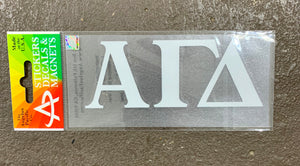 Alpha Gamma Delta White Car Decal