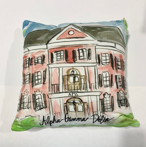 Alpha Gamma Delta Watercolor Sorority House Pillow