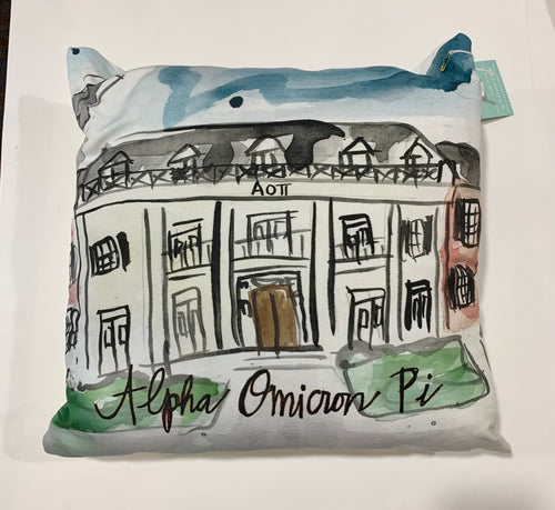 Alpha Omicron Pi Watercolor Sorority House Pillow
