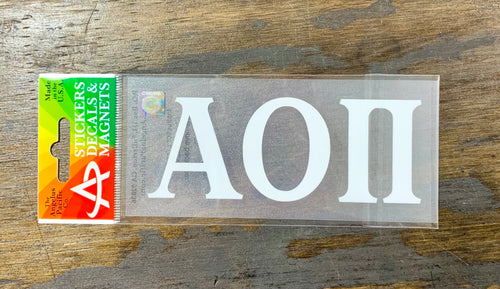 Alpha Omicron Pi White Car Decal