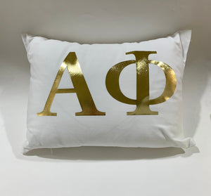 Alpha Phi White Pillow with Gold Letters