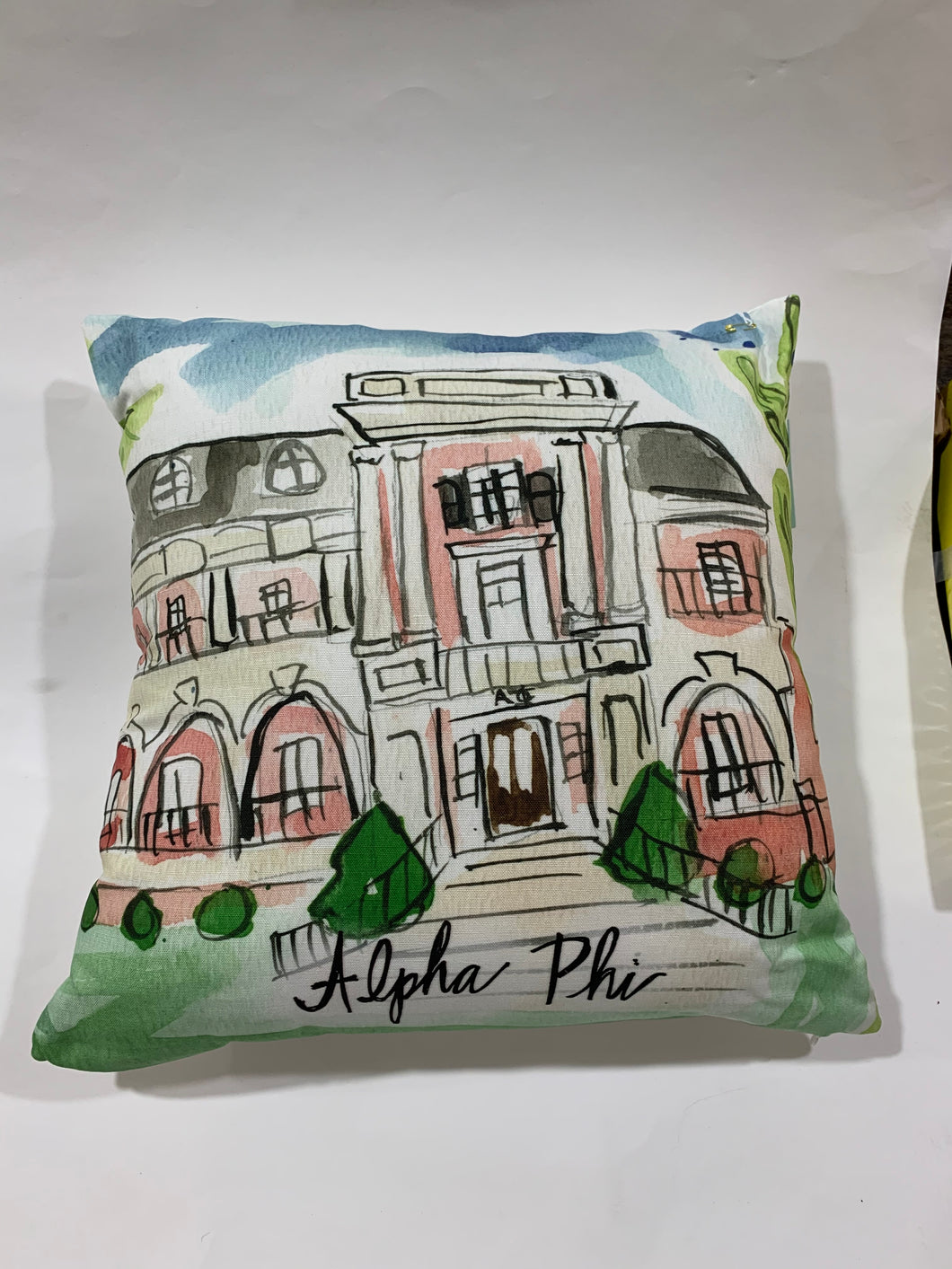 Alpha Phi Watercolor Sorority House Pillow