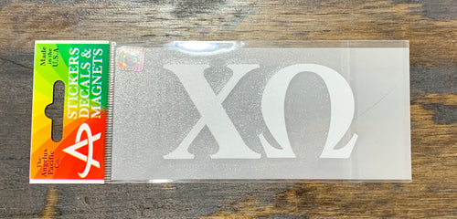 Chi Omega White Car Decal