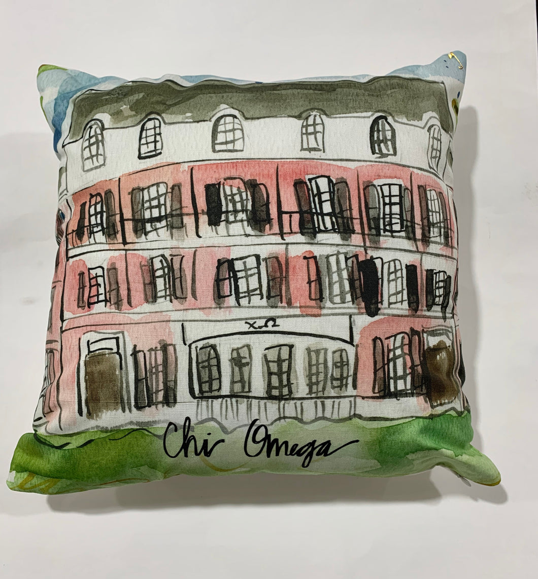 Chi Omega Watercolor Sorority House Pillow