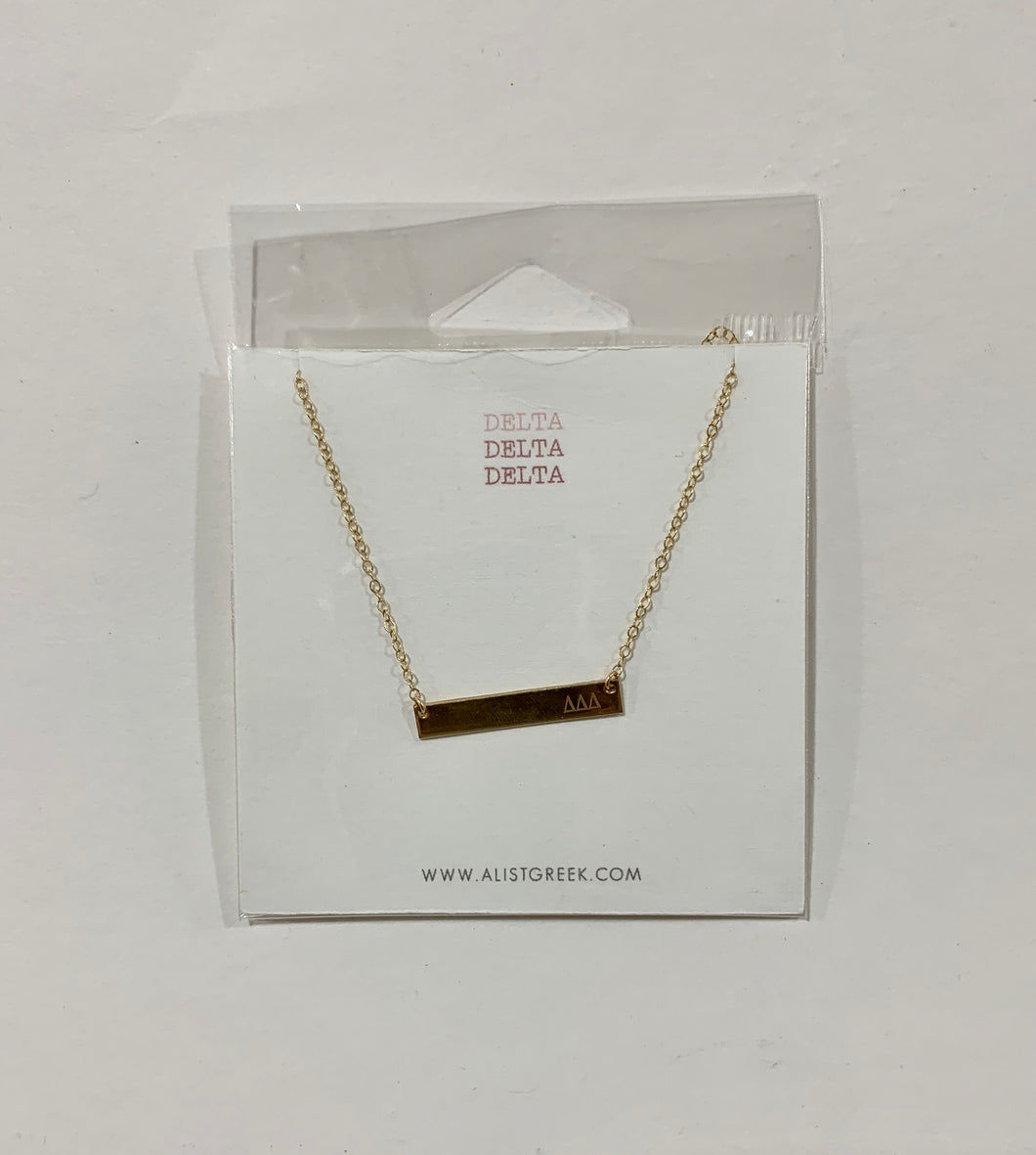 Delta Delta Delta  Bar Necklace