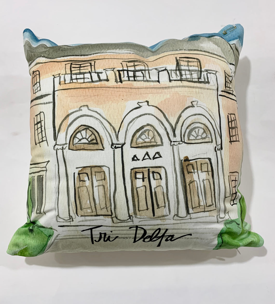 Delta Delta Delta Watercolor Sorority House Pillow